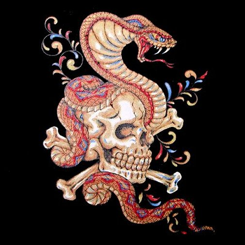SKULL CROSSED BONES COBRA SNAKE TATTOO ART T-SHIRT WS18 - eBay (item 400070238137 end time Feb-20-11 04:23:06 PST)